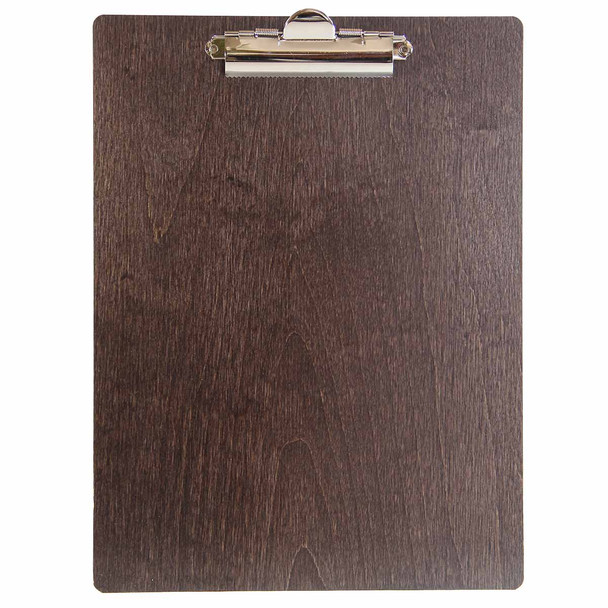 Baltic Birch Wood Menu Clipboard 8.5 x 11 shown in espresso finish