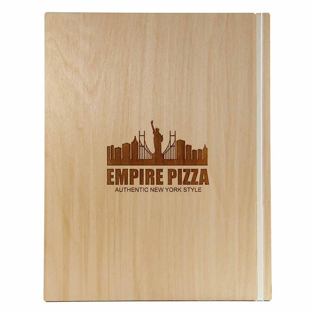 "Baltic Birch Wood Menu Board with Vertical Band 8.5"" x 11"" in natural finish with rubber band and laser engraved logo"