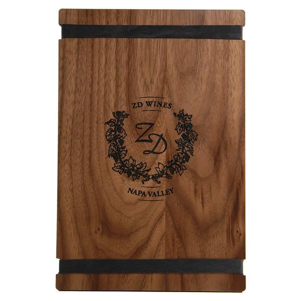 Solid walnut wood menu board with black bands 5.5 x 8.5