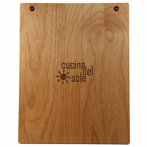 Alder Wood Menu Board with Screws - Back View