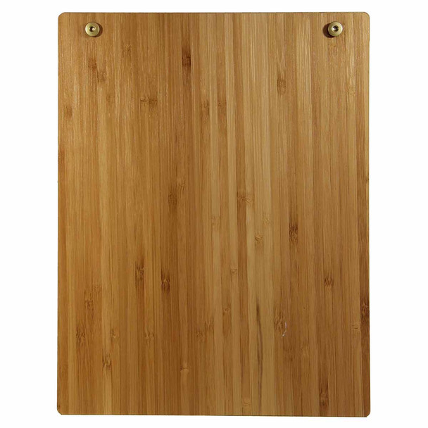 Bamboo Wood Menu Board with Screws 8.5 x 11 - Back View