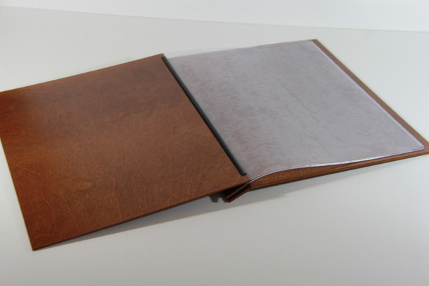 Open view of wood chicago menu board with optional page protector pockets (sold separately).