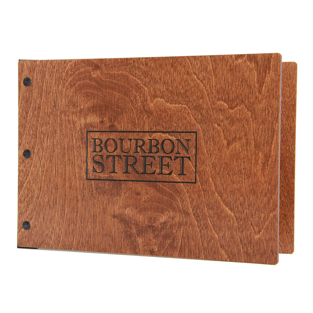 """Riveted Baltic Birch Wood Three Ring Binder 8.5"""" x 5.5"""" in nutmeg stain with an engraved logo has a landscape orientation."""