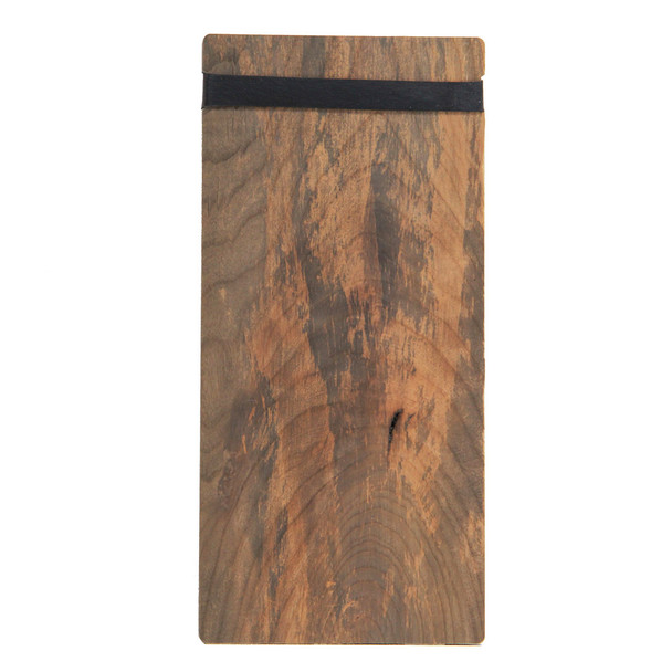 Back view of distressed solid wood check presenter with band.