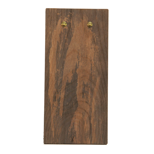 Back view of distressed solid wood check presenter with clip.