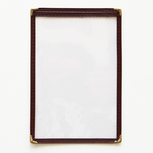On Sale Sewn One Panel Two View Menu Cover 5.5x8.5 in Maroon Leatherette