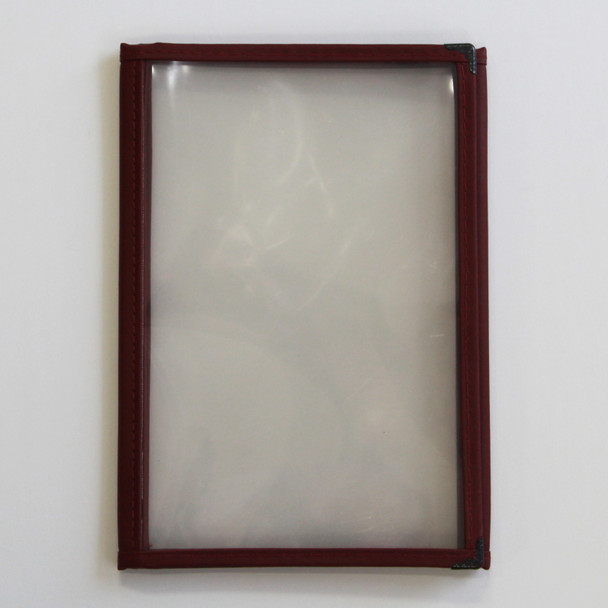 Sewn Three Panel Six View Foldout Menu Cover 5.5 x8.5 in burgundy leatherette.
