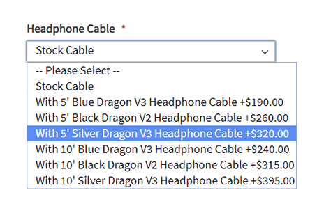 Dragon Cable dropdown selection for headphones