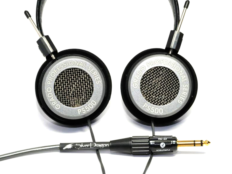 Silver Dragon Cable with Grado PS500 Headphones