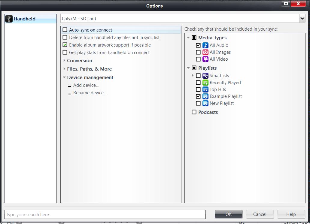 JRiver Synce options