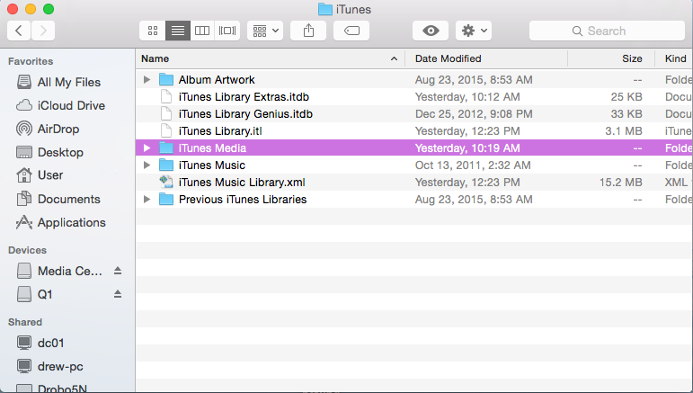 Find itunes media on computer