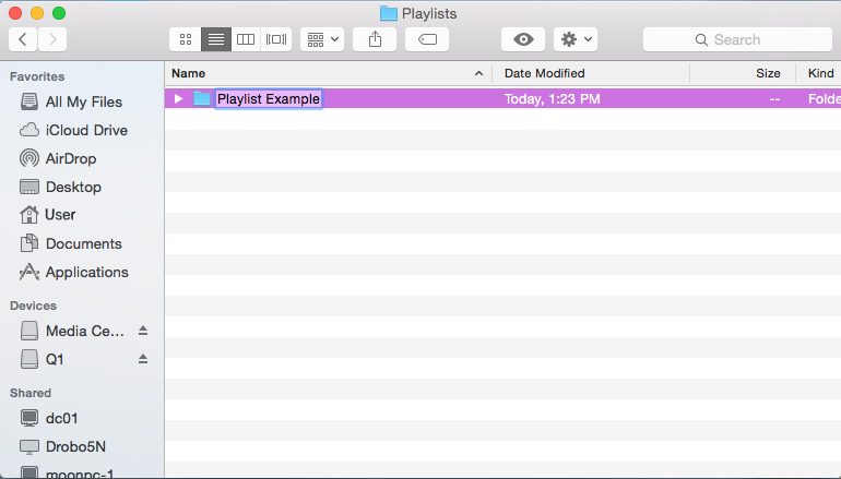 Playlist on Mac Finder