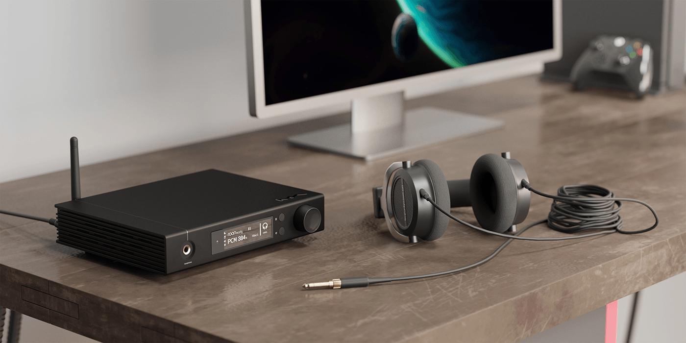 Matrix element I on desktop with headphones