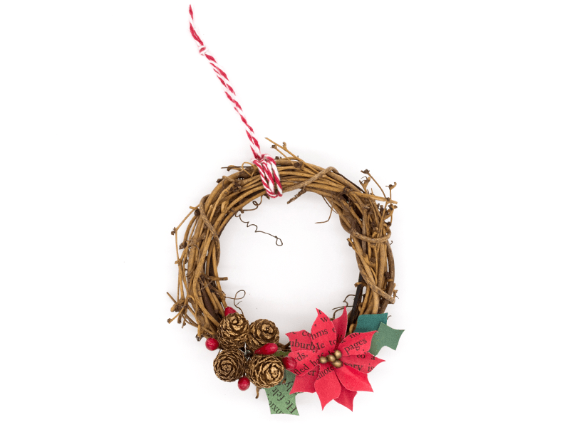 Holiday Wreath with Paper Poinsettia