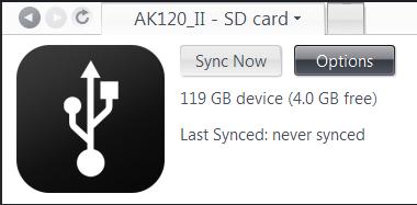 Sync options JRiver