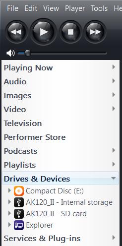 AK Music player device JRiver