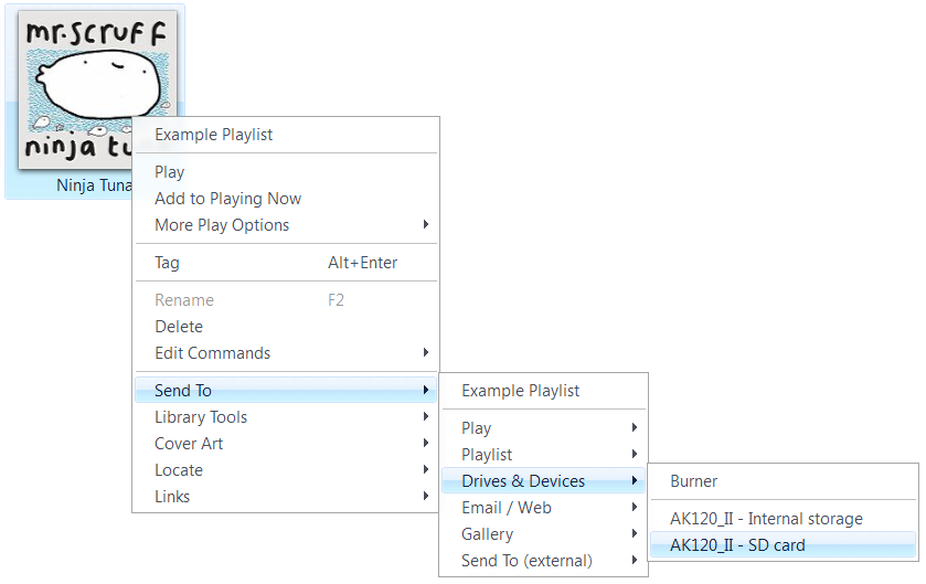 sync songs to AK music player
