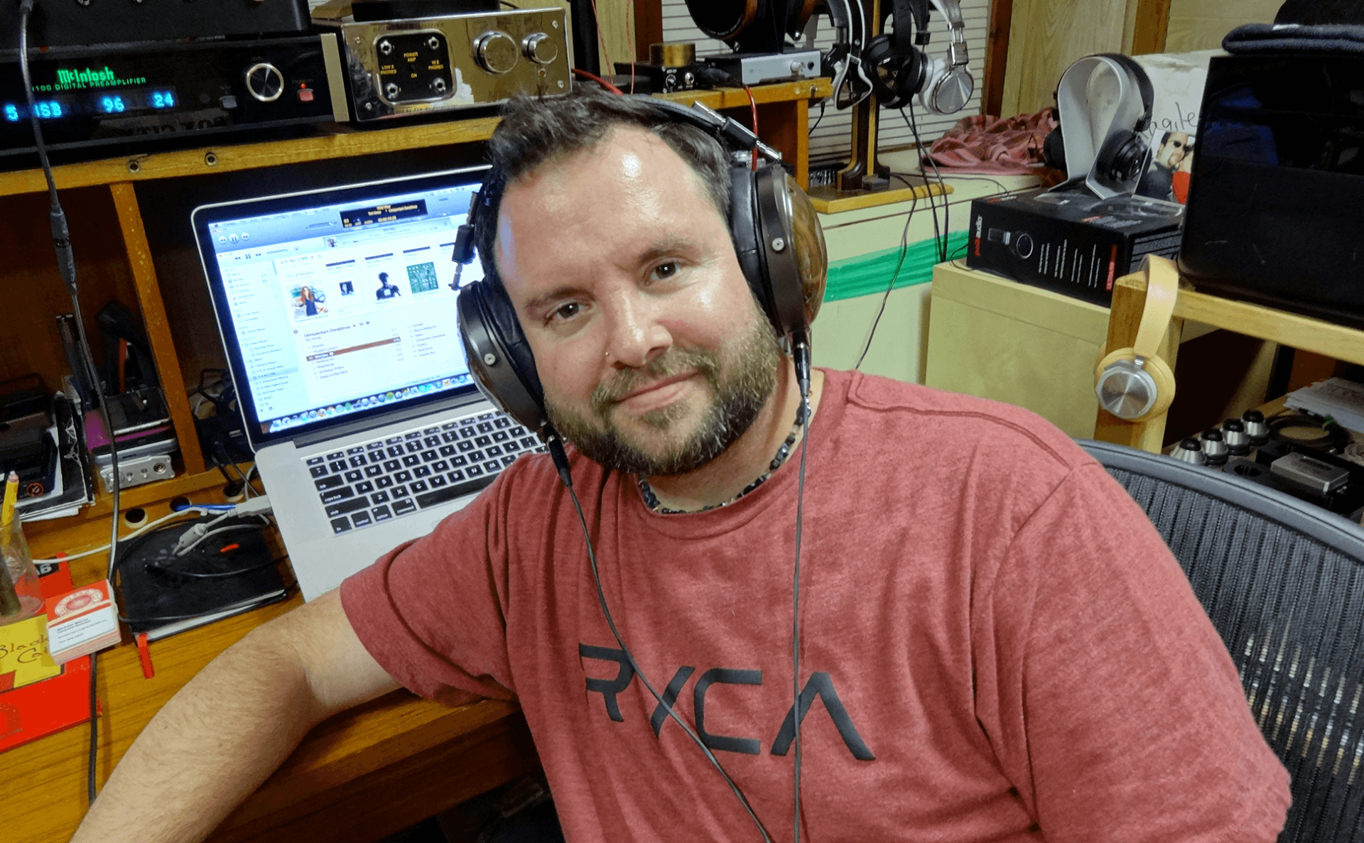 Michael Mercer of 360.org with Silver Dragon cable and Audeze LCD-XC Headphones