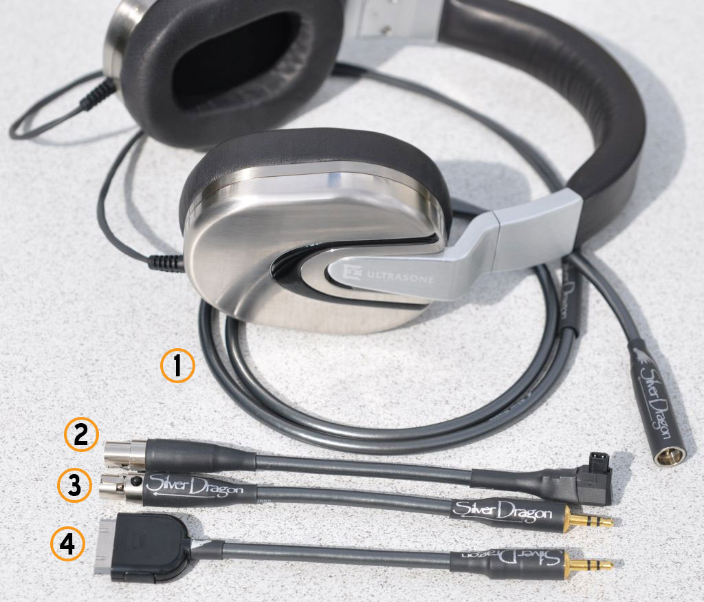 Ultrasone Edition 8 headphone plus Silver Dragon V3 headphone cable adapter system