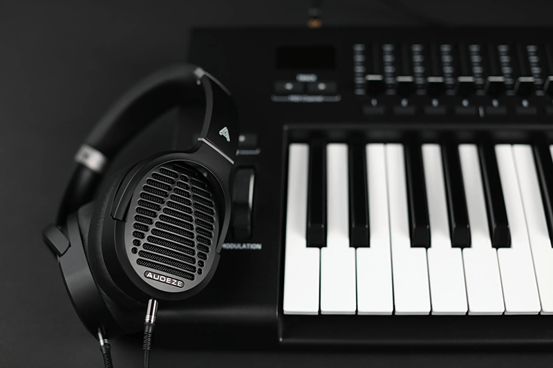 LCD-1 headphones on a keyboard