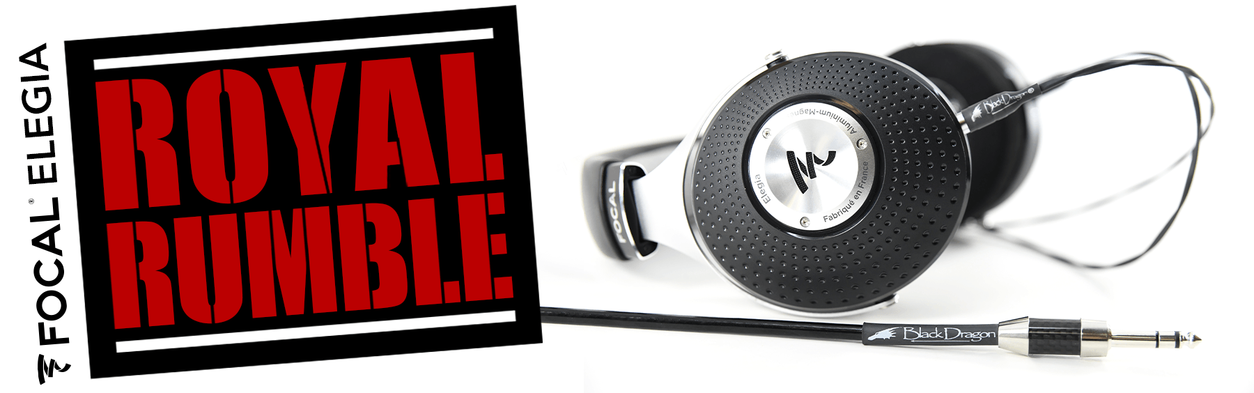 Graphic art for Focal Elegia royal rumble headphone review and a Black Dragon premium headphone cable.