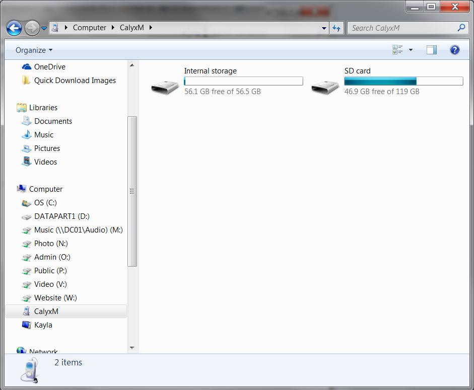 Calyx Storage Windows Explorer