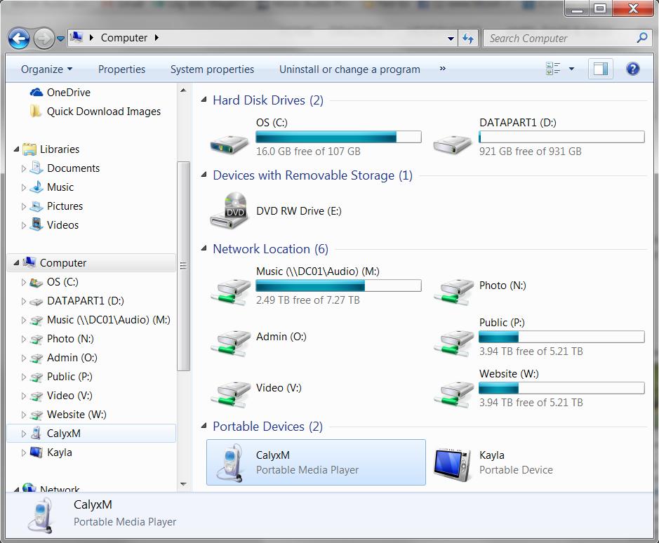 Calyx Device Windows Explorer