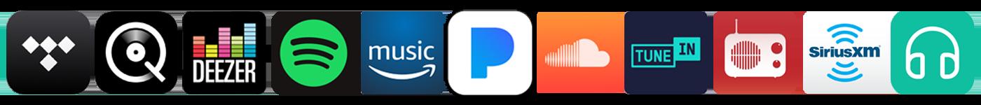 Tidal, Qobuz, Deexer, Spotify, Amazon Music, Pandora, SoundCloud, TuneIn Radio, myTuner, Sirius Radio, DS Audio