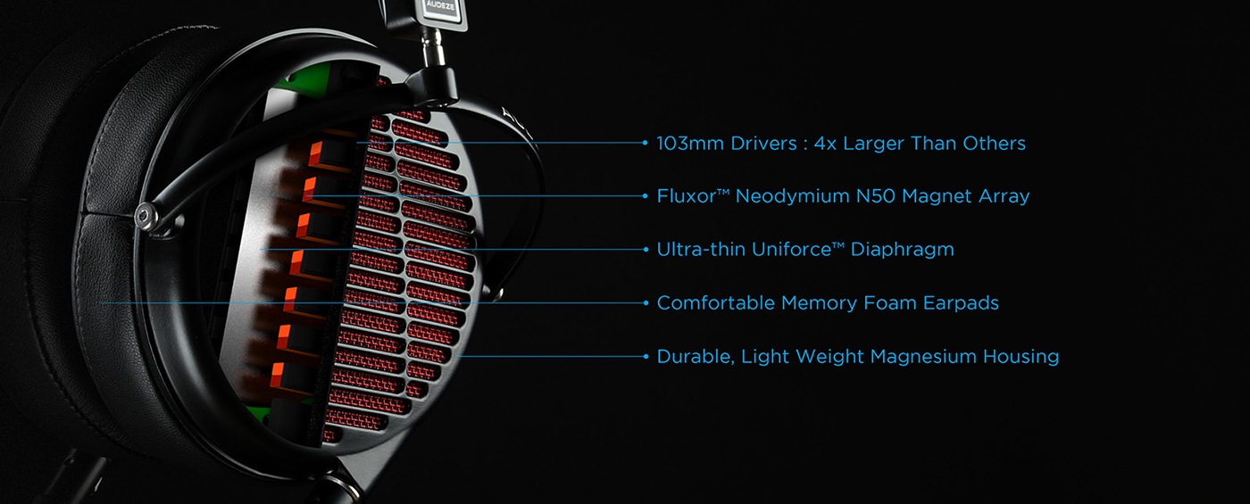 featuring 103mm drivers, Fluxor Neodymium magnet array, ultra-thin diaphragm, memory foam earpads, and lightweight magnesium housing