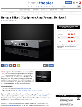 Bryston BHA-1 Balanced Headphone Amplifier Review