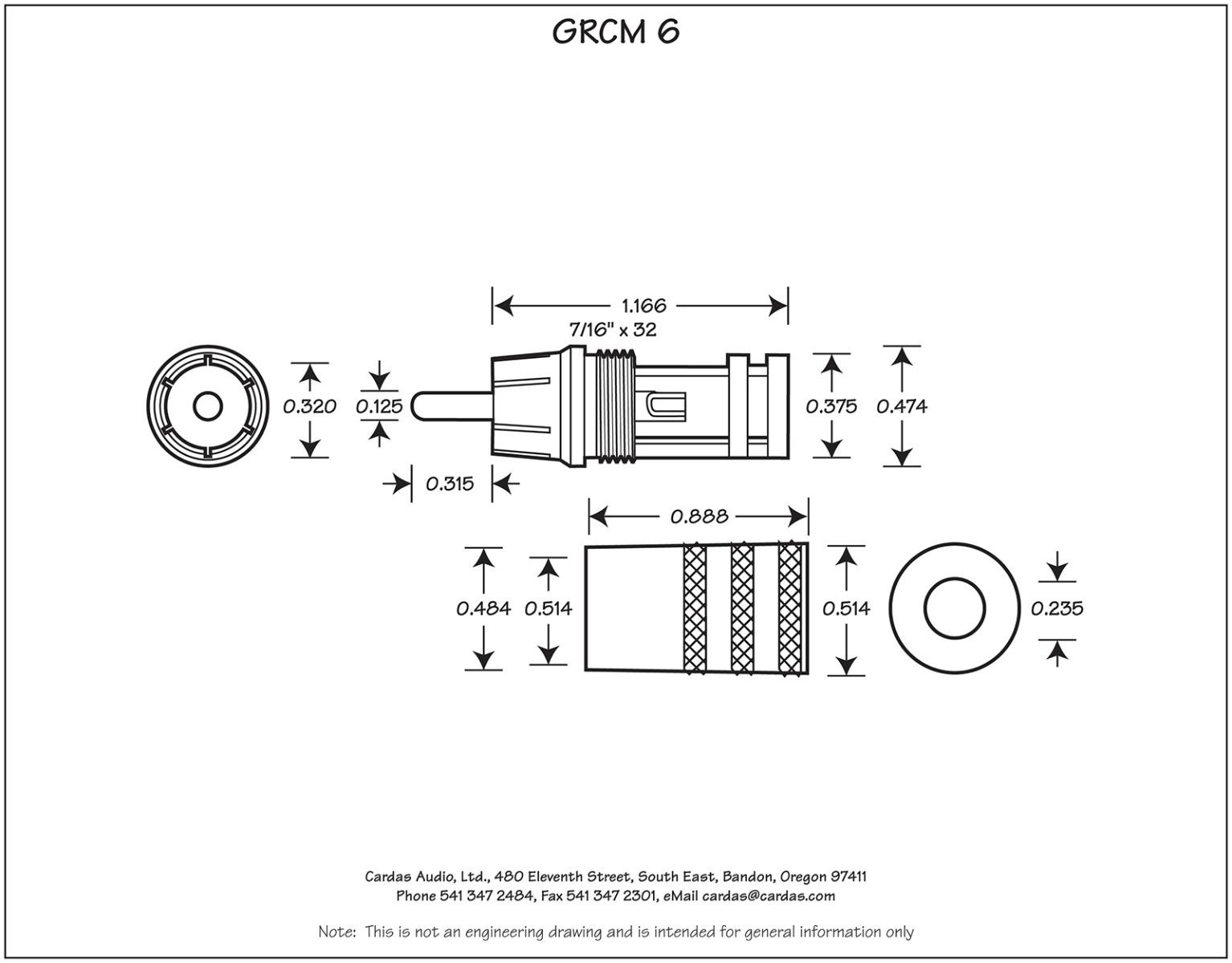 Cardas GRCM 6 Male RCA Plug Dimensions
