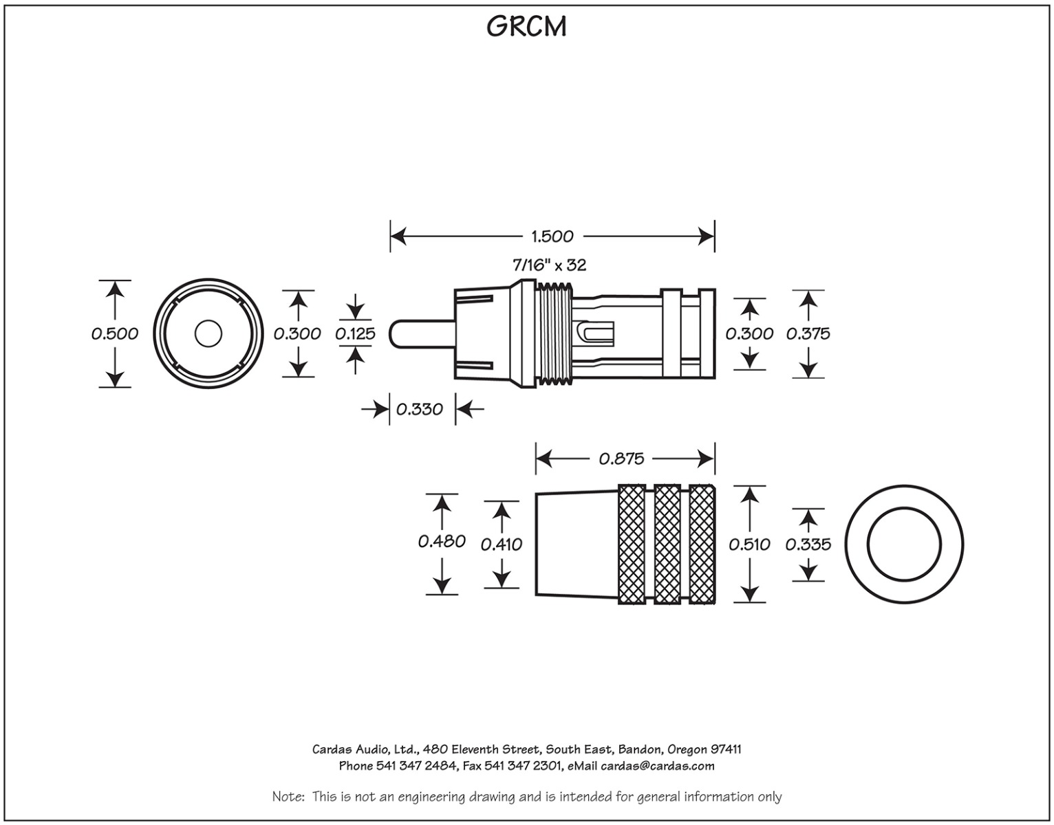 Cardas GRCM Male RCA Plug Dimensions