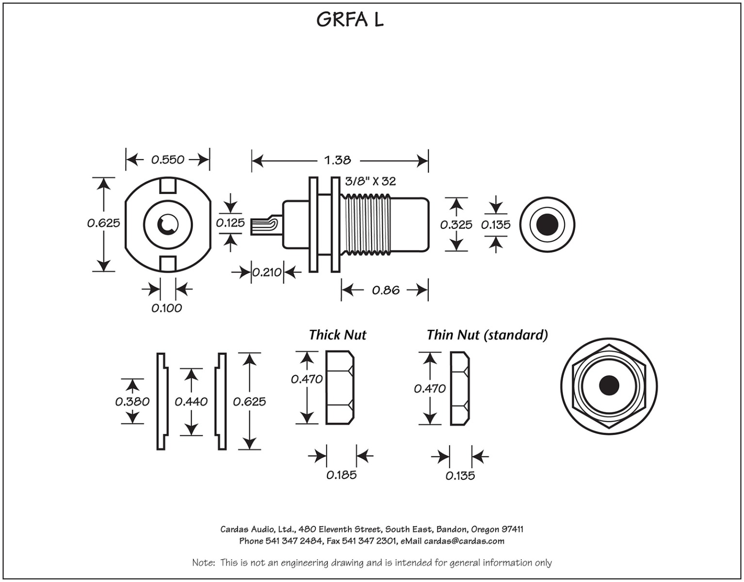 Cardas GRFA Long RCA mount dimensions