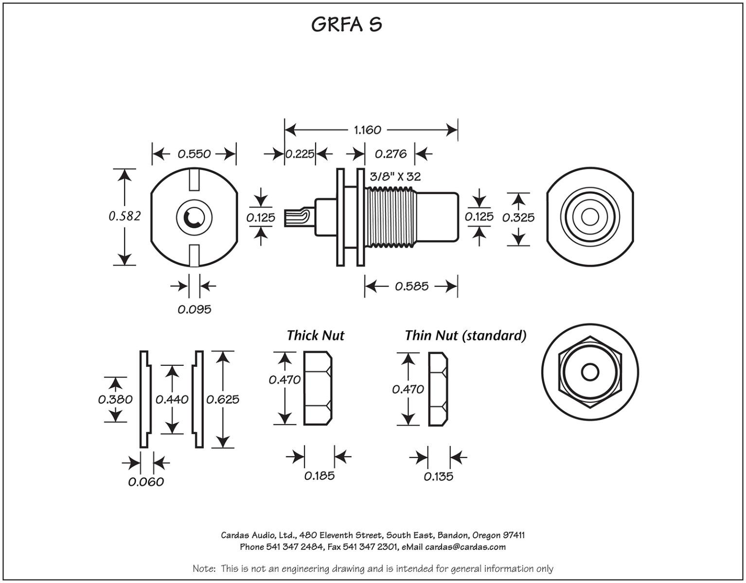 Cardas GRFA Short RCA mount dimensions