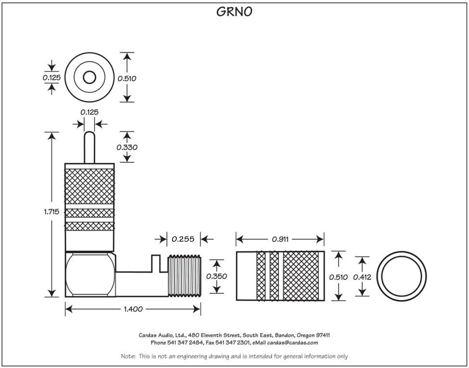 Cardas GRNO Male right angle RCA connector dimensions