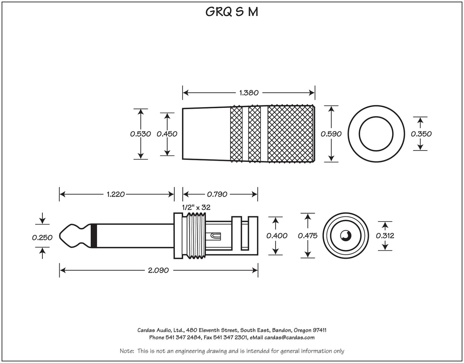 Cardas GRQ SM Mono plug dimensions