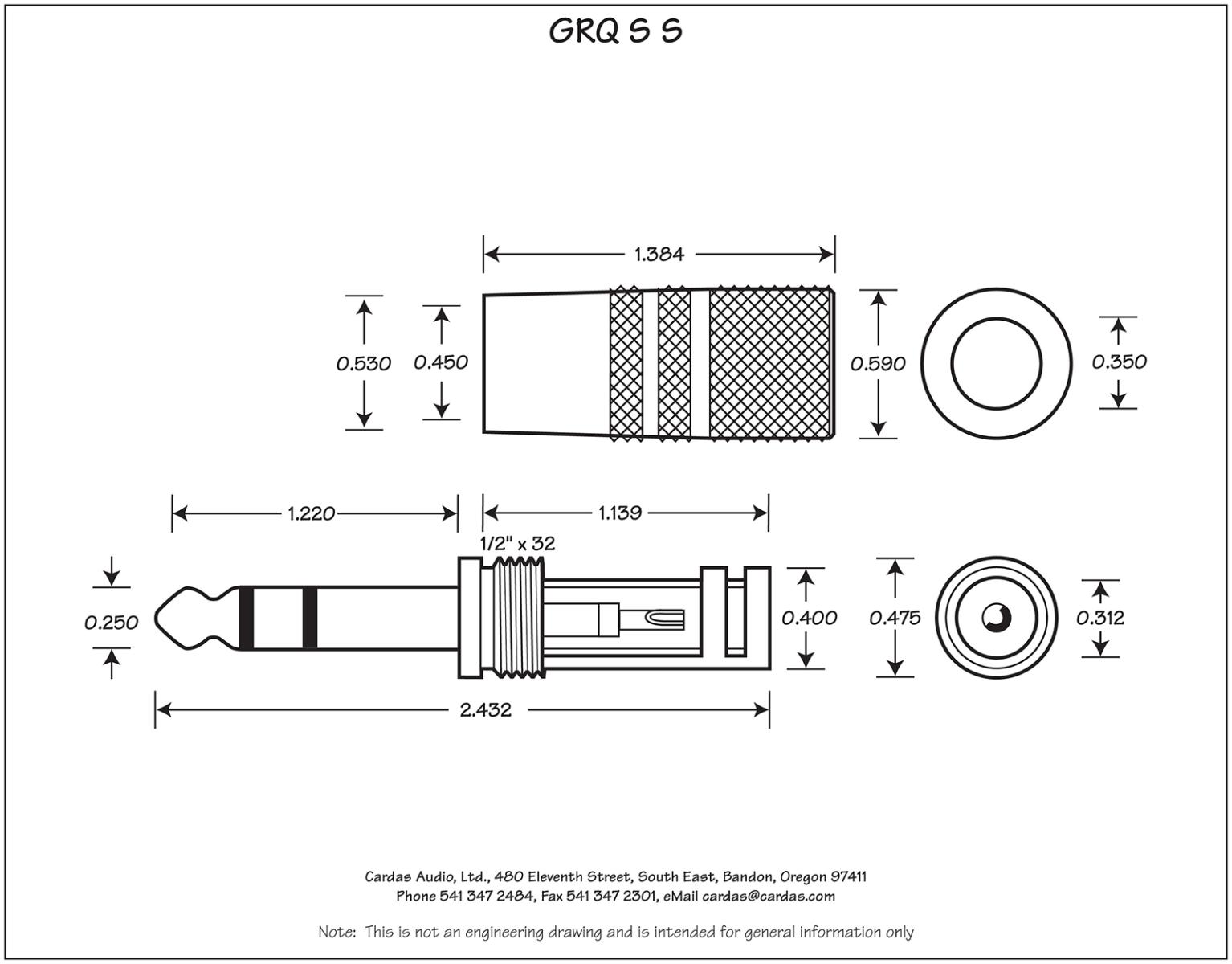 Cardas GRQ SS Stereo plug dimensions