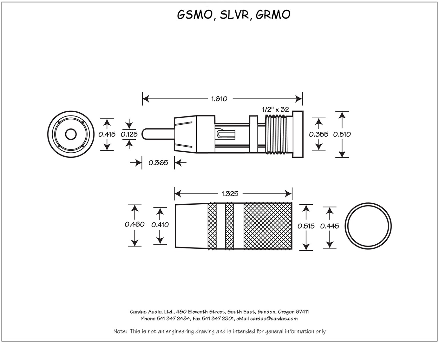 Cardas GRMO Male RCA Plug dimensions