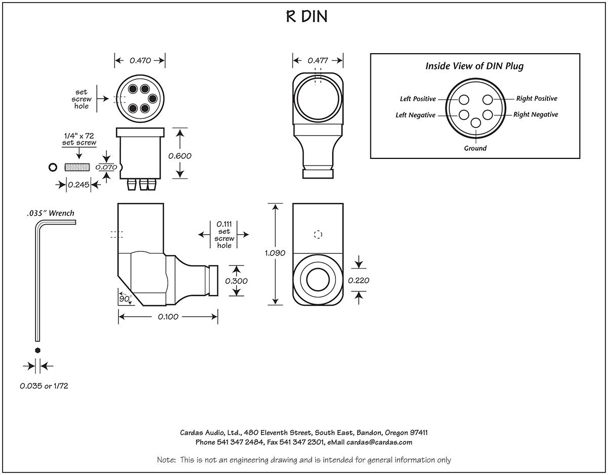 Cardas R DIN femail phono plug diagram