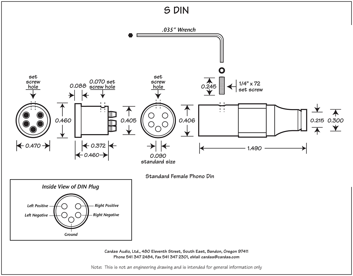 Cardas S DIN female phono plug diagram