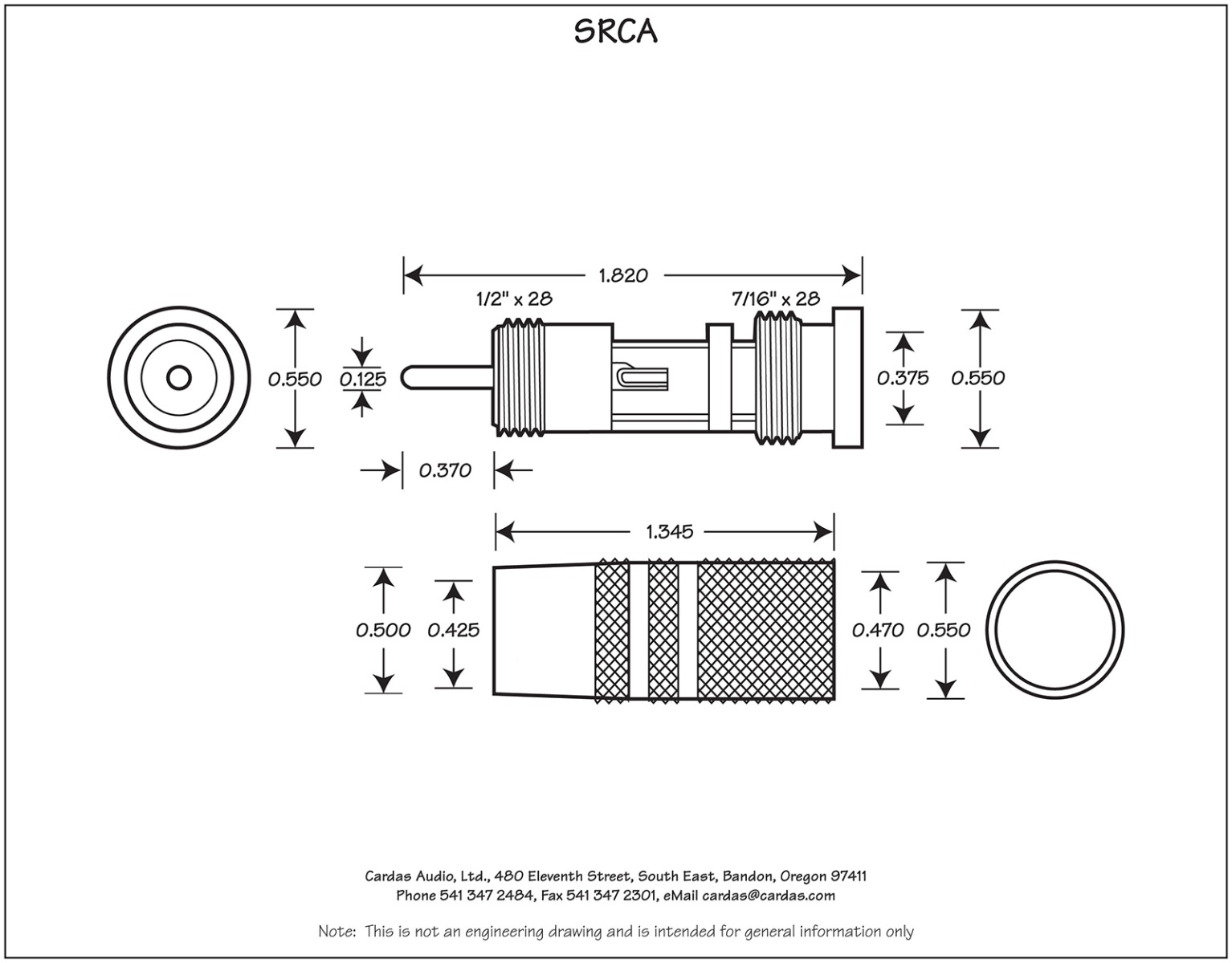 Cardas SRCA Male Plug Dimensions