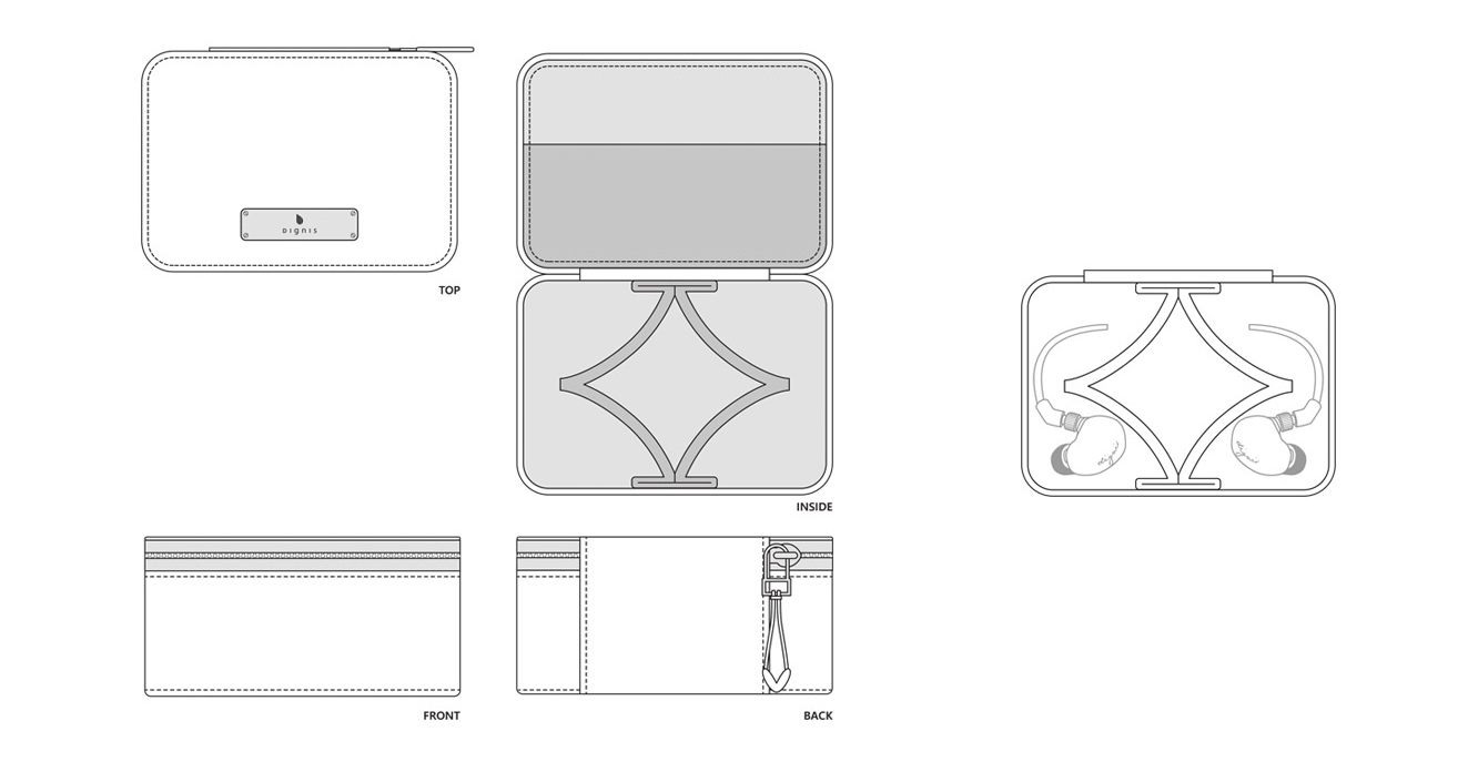 line art of every side of the Arca case design