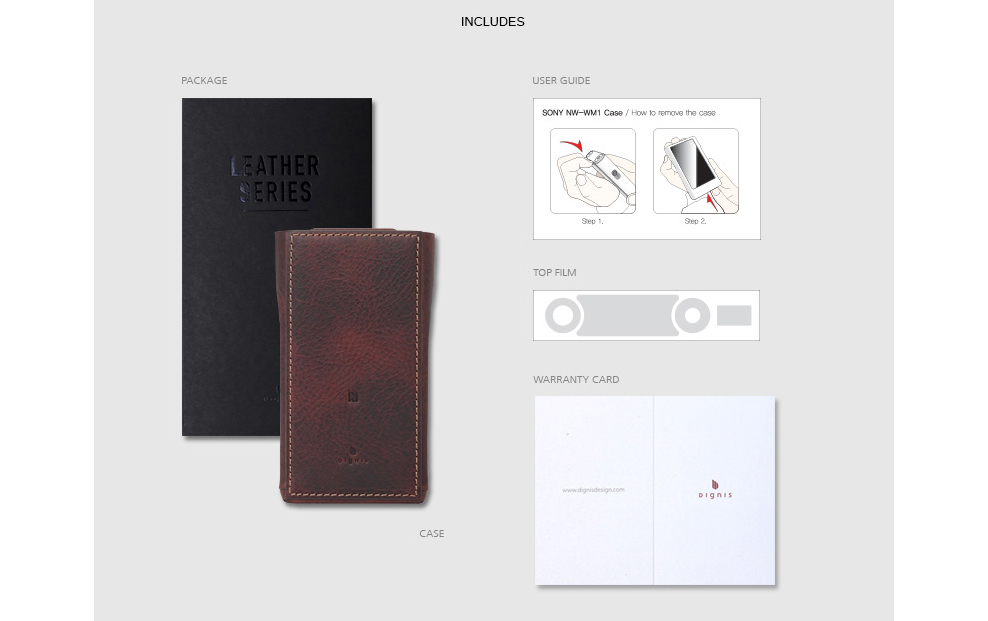 Dark Brown Case Accessories include a user guide, top protective film, and warranty card