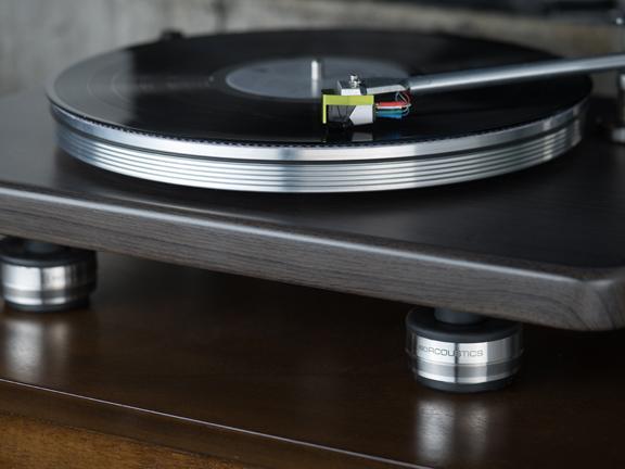 Isoacoustics OREA isolation feet on a record player