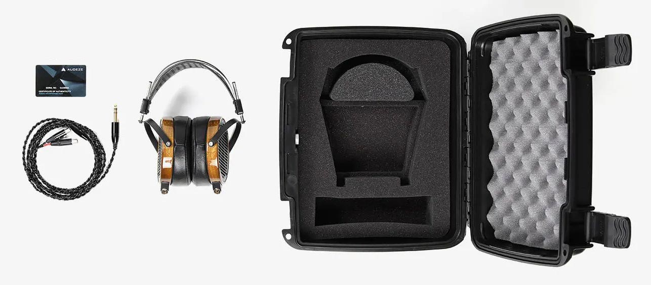 Audeze LCD-2 headphones with included case, cable, and warranty card