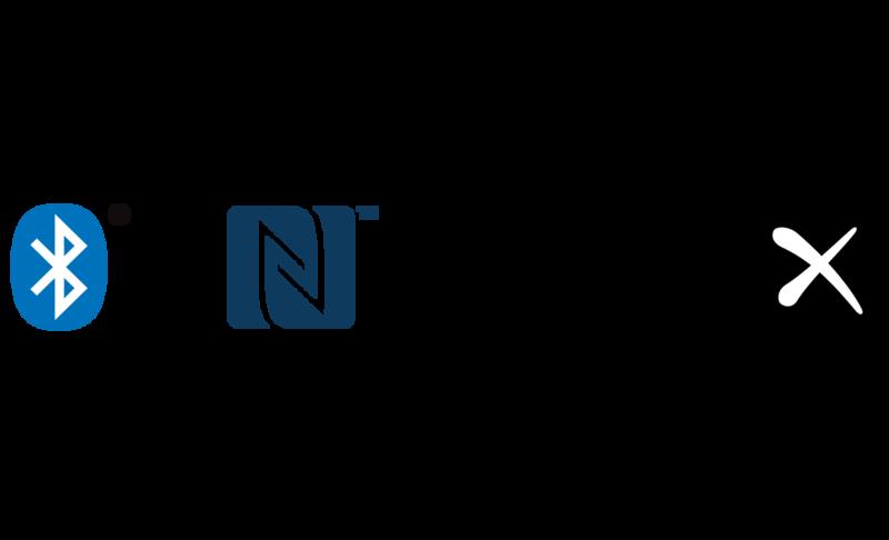 Bluetooth, NFC, and Qualcomm aptX HD logos