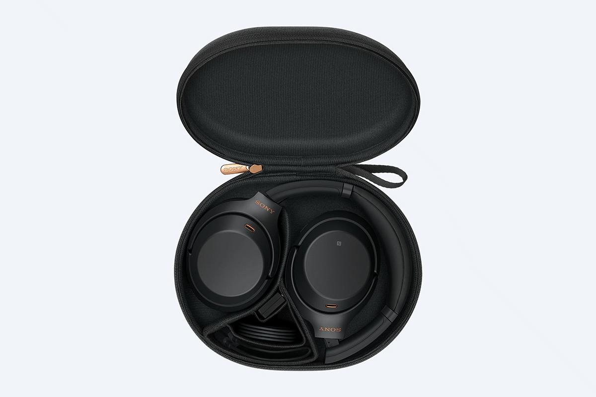 Sony WH-1000XM3 headphones in carry case