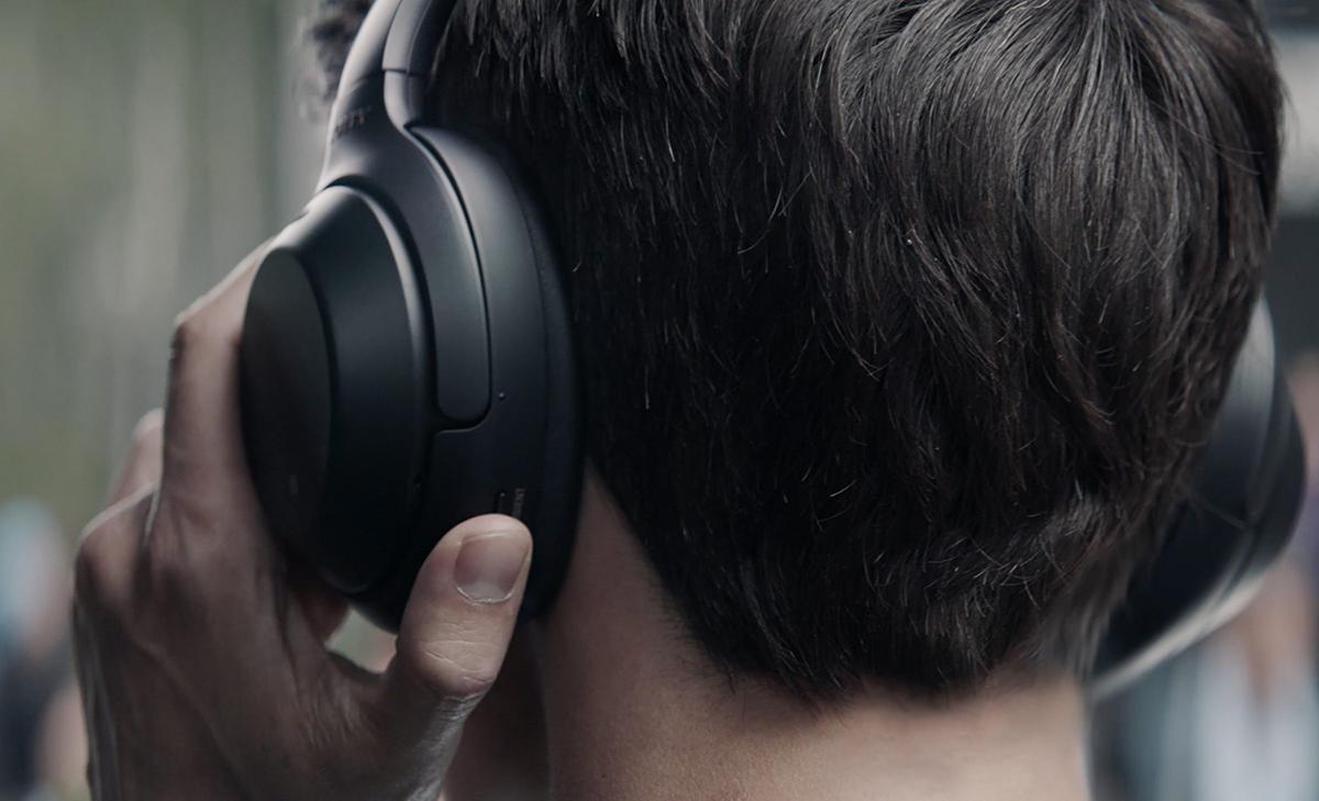 Sony WH-1000XM3 Headphones on man's head