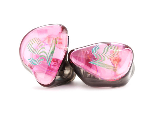 Empire Ears ESR custom IEMs with Transluscent Cherry Pink faceplates and custom artwork