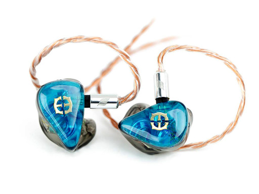 Empire Ears ESR custom IEMs with Transluscent Aqua faceplates and Transluscent Storm body